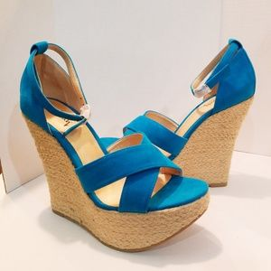 New Blue Wedge Sandals size 8 Espadrilles